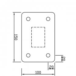 Sloupek pozinkovaný 60x40 mm s patkou, výška 120 cm