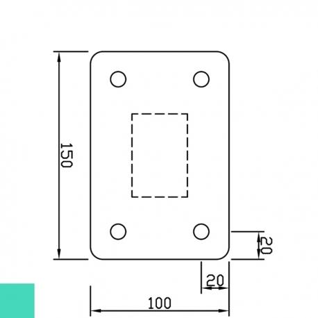 Sloupek poplastovaný 60x40 mm s patkou, výška 160 cm