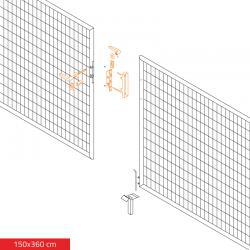 Brána dvoukřídlá ECO zahradní 1500x3600 mm, se zámkem