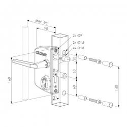 Zámek LAKQ 4040 U2L pro profil 40-60 mm