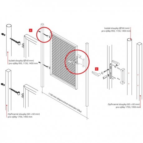 Branka jednokřídlá zahradní PILGATE 1450x1100 mm